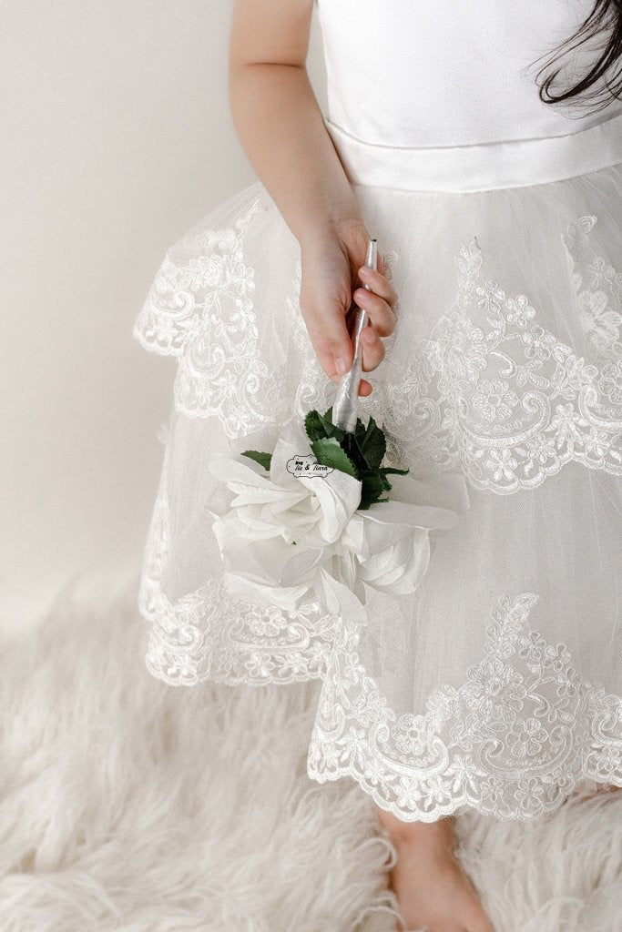 White dress featuring white lace for little girls