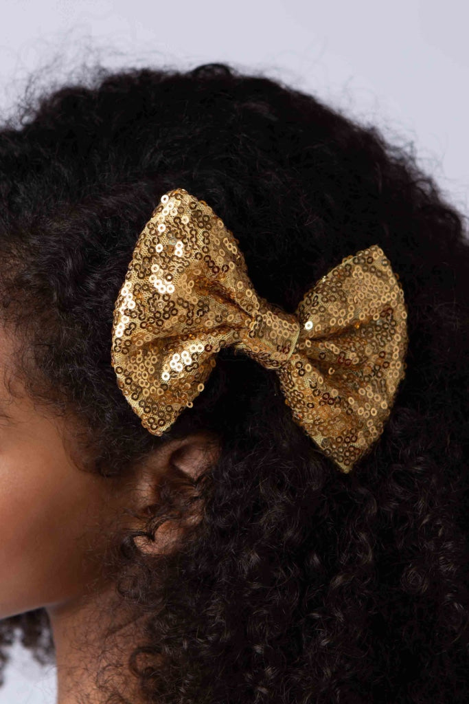 Sequin-Bow Hairpin Golden Accessories