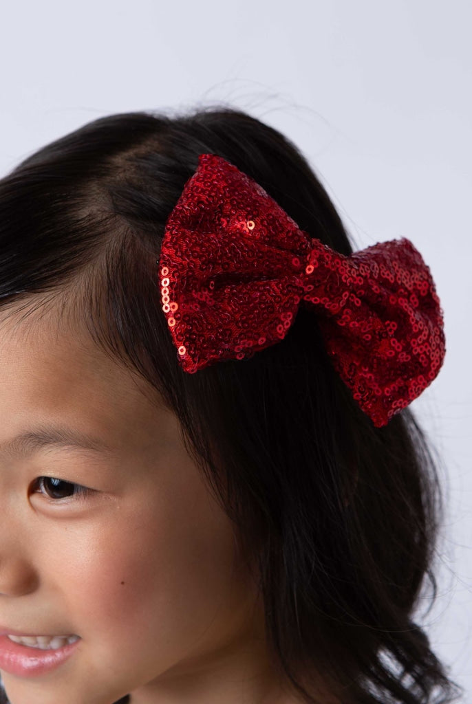 Sequin-Bow Hairpin Red Accessories