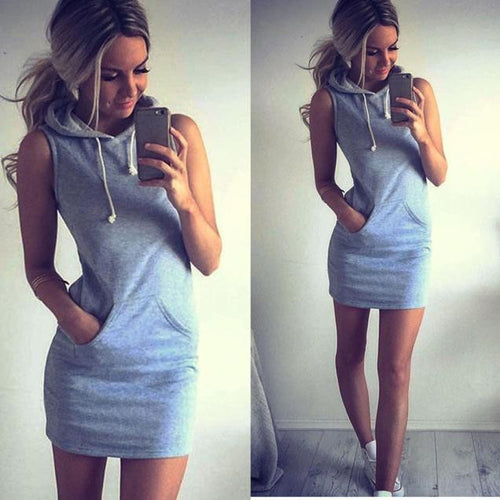 ICHIVE.COM - WOMENS SUMMER SLEEVELESS HOODIE DRESS