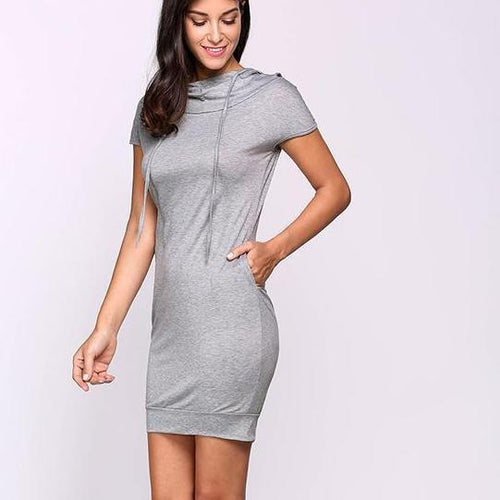 ICHIVE.COM - WOMEN'S SUMMER MINI HOODIE DRESS