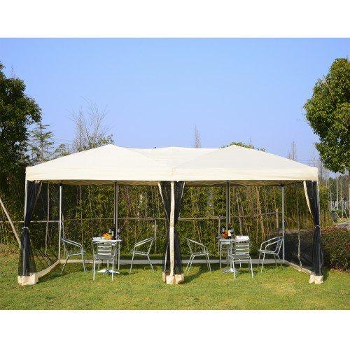 10'x20'ft Easy Folding Pop Up Canopy Tent with Mesh Sidewalls - Beige