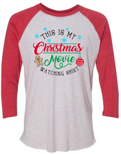 Load image into Gallery viewer, Christmas Movie- Raglan- Red/White