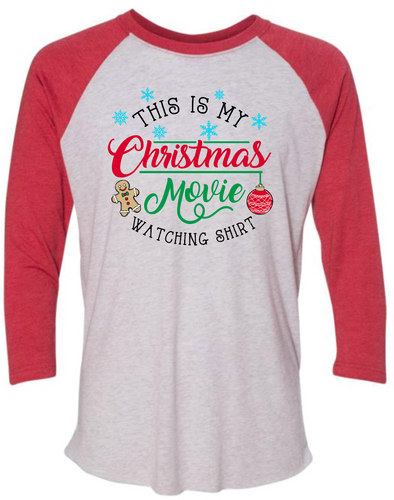 Christmas Movie- Raglan- Red/White