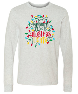 Christmas Lights- Long Sleeve- Ash