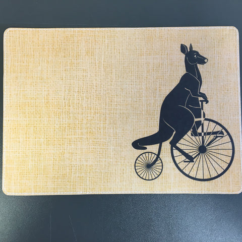 Fun Whimsical Kangaroo Riding a Bicycle Passport Holder Design made by 11:11 Enterprises for Zazzle Customer