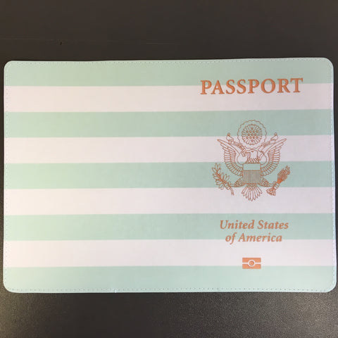 Teal and White Striped Customer USA Passport Design made by 11:11 Enterprises for Zazzle Customer