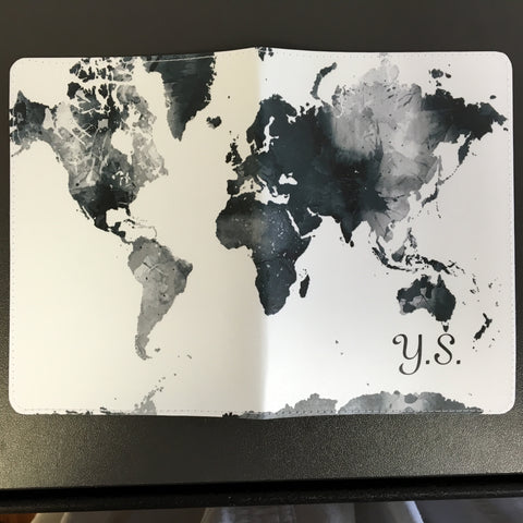 Black and White World Map Design Passport Holder made by 11:11 Enterprises for Zazzle Customer