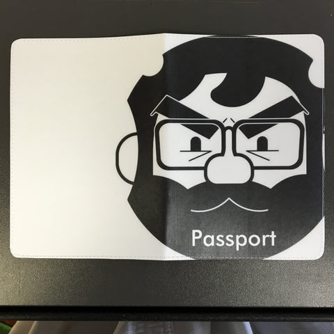 Fun Black and White Angry Face Passport Holder Design made by 11:11 Enterprises for Zazzle Customer