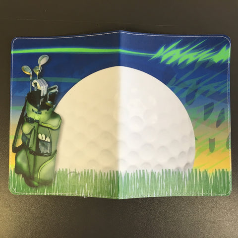 Golf Ball and Golf Bag Scene Passport Holder made by 11:11 Enterprises for Zazzle Customer