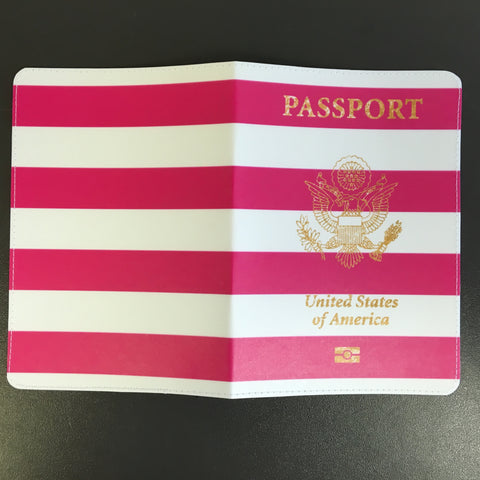 Pink Stripes USA Passport Holder made by 11:11 Enterprises for Zazzle Customer