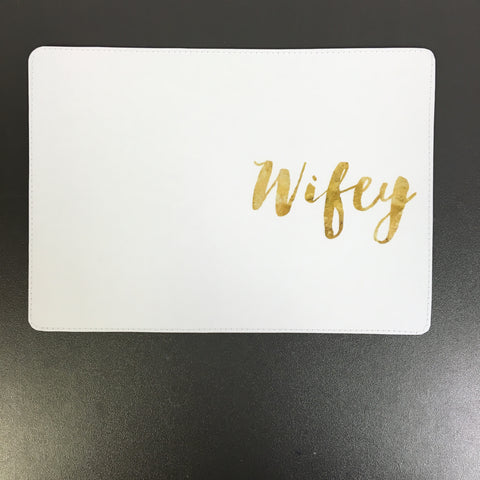 Fun Gold Lettering Wifey Custom Passport Cover Design made by 11:11 Enterprises for Zazzle Customer