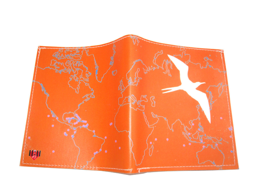 Orange Bird Map Bi-Fold Wallet
