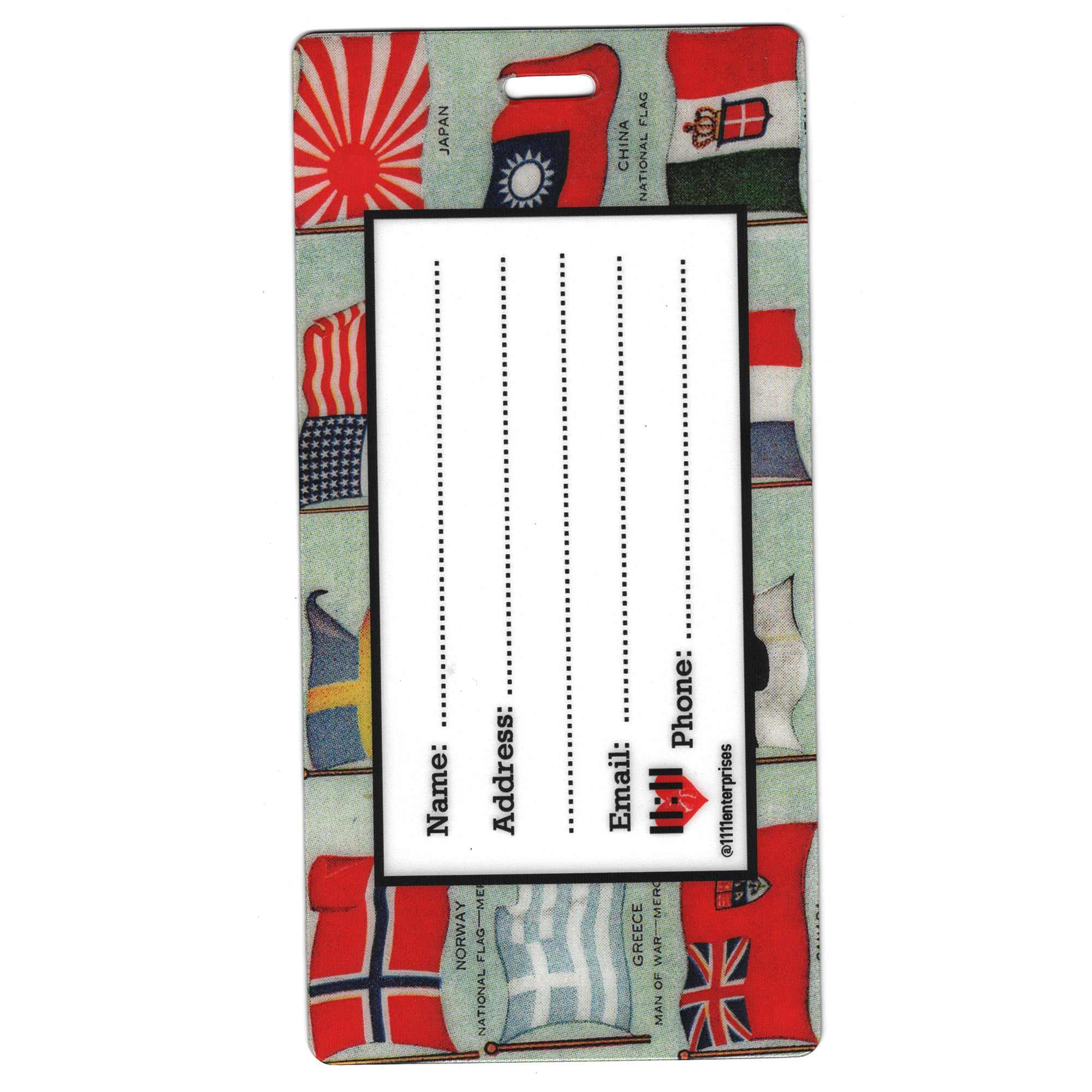 Flags of the World Luggage Bag Tag Set - 2 pc, Large by 11:11 Enterprises
