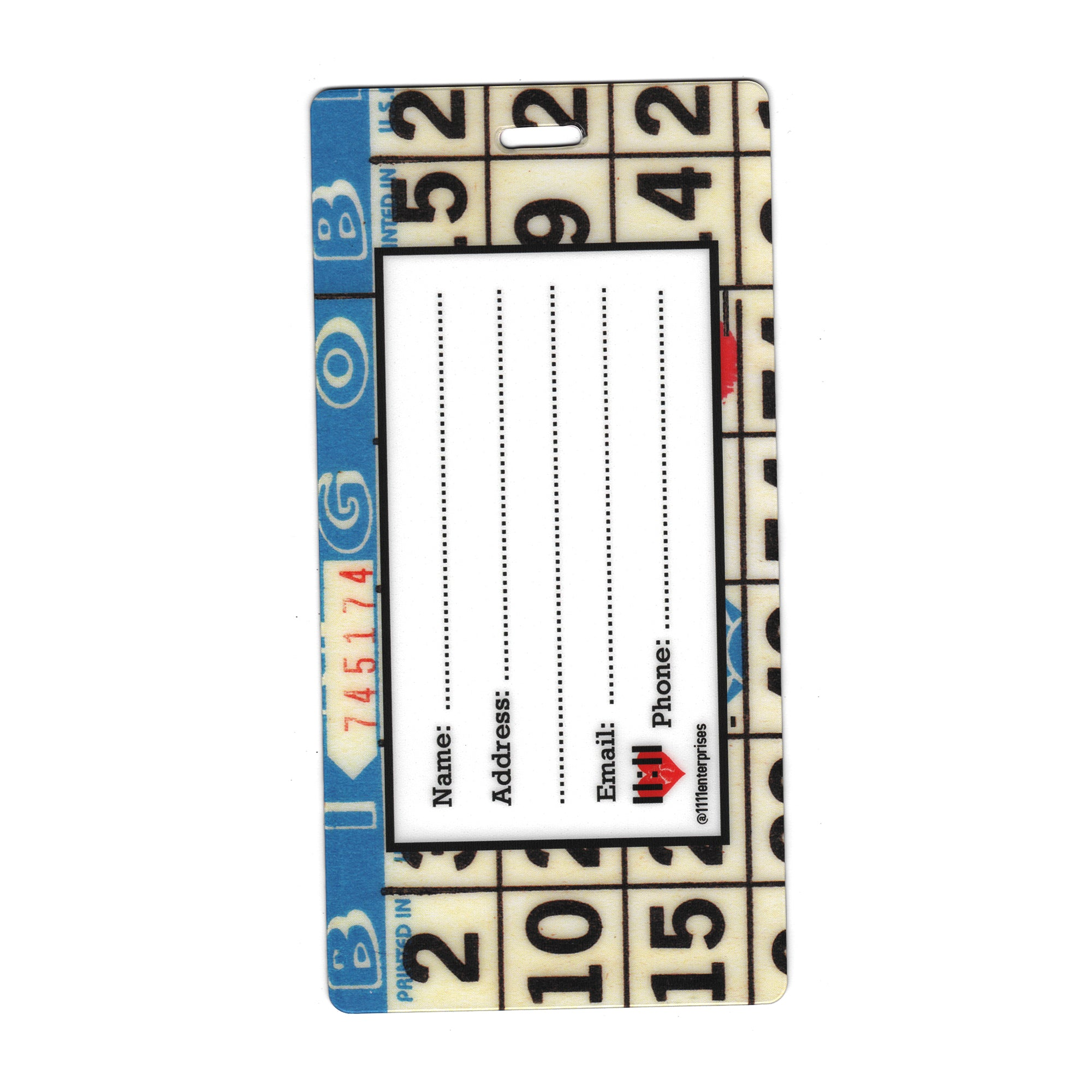 Blue Bingo Card Travel Set- Passport Holder + Matching Luggage Tags