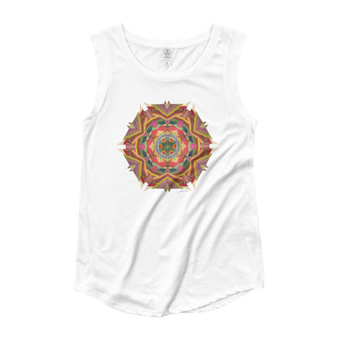 Flower Fields Mandala by Jamila Starwater // Ladies' Cap Sleeve T-Shirt