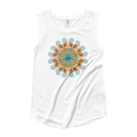 Peacock Jellyfish Mandala by Jamila Starwater // Ladies' Cap Sleeve T-Shirt