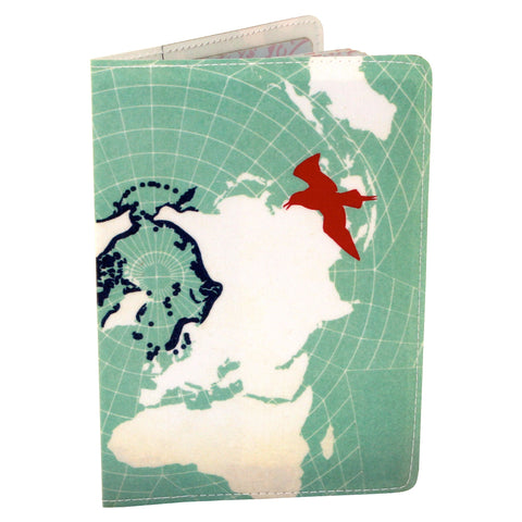 Blue Bird Map Travel Passport Holder
