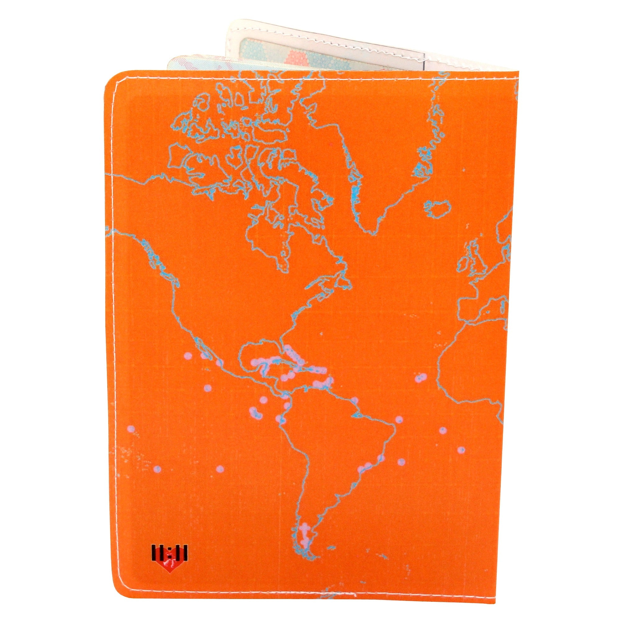 Orange Bird Map Travel Passport Holder