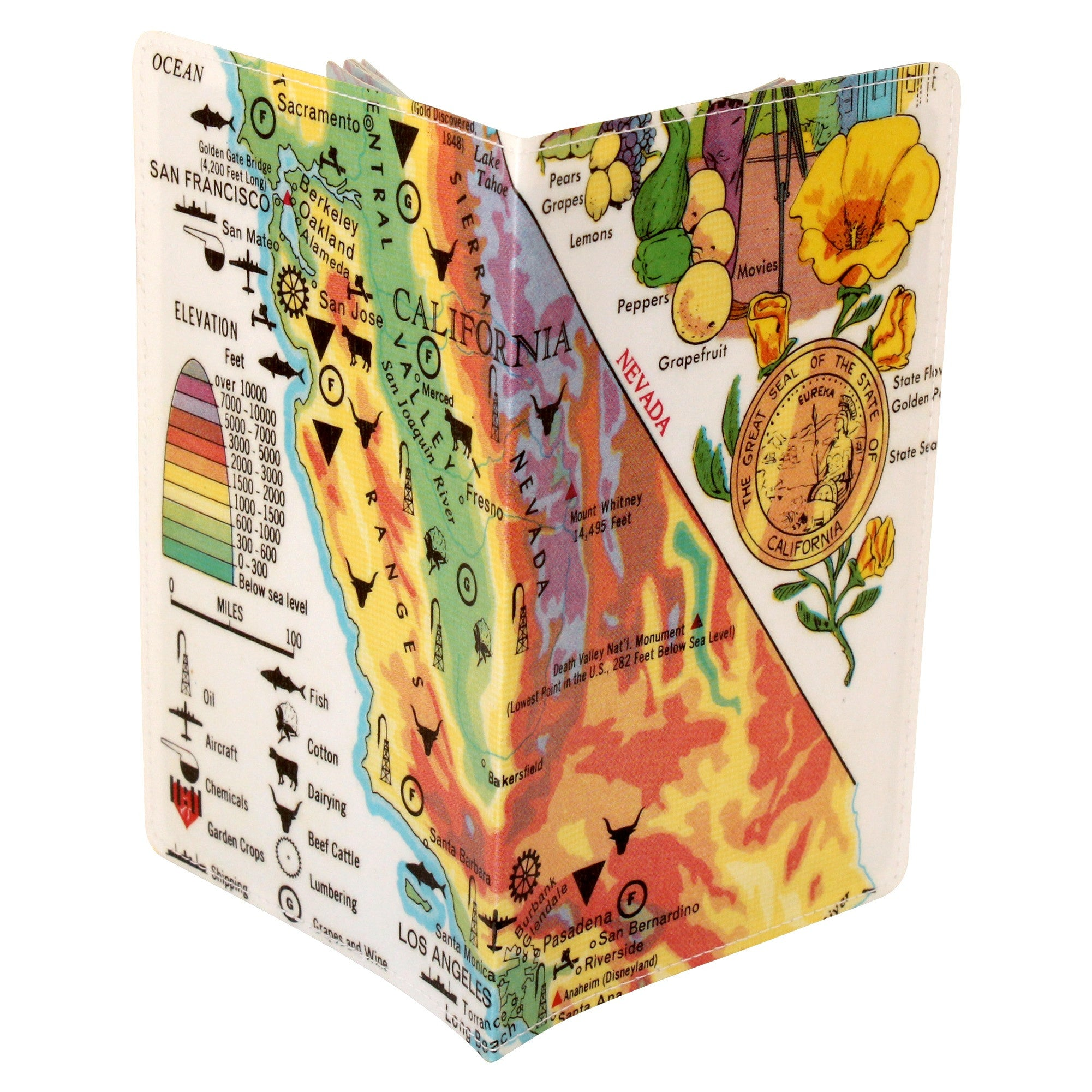 Map of California Bountiful Treasures Travel Passport Holder