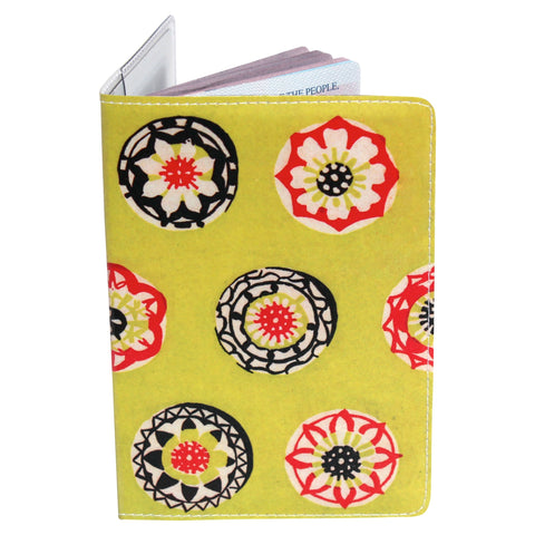 Happy Lime Flower Passport Holder