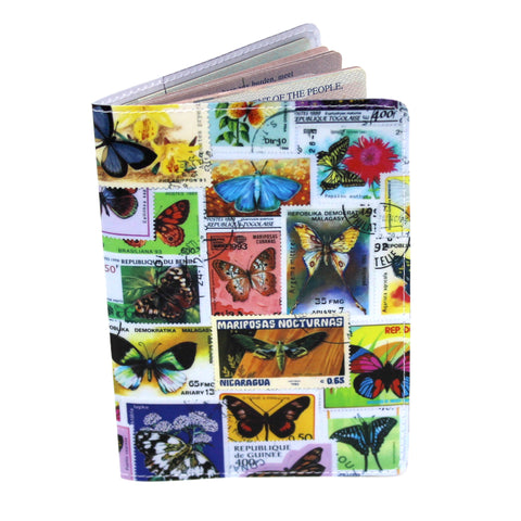 Butterfly Postage Stamps Travel Passport Holder