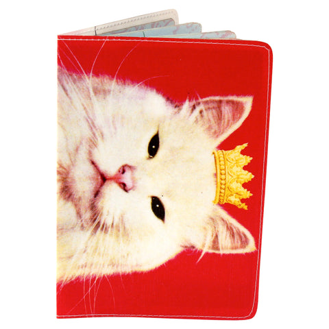 Pink Royal Kitty Cat Travel Passport Holder