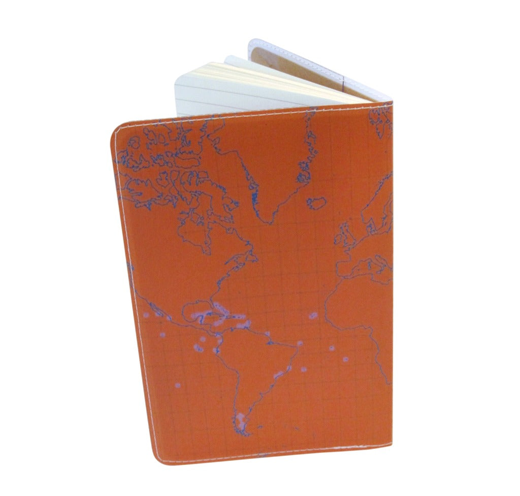 Orange Bird Map Covered Moleskine Notebook