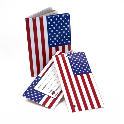 American Flag USA Luggage Bag Tag Set - 2 pc, Large by 11:11 Enterprises