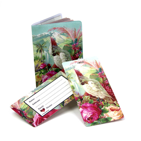 Vacation Bird Travel Set- Passport Holder + 2 Extra Large Luggage Tags