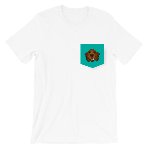 Golden Retriever (1 Pet - Face Only) Pocket T-Shirt