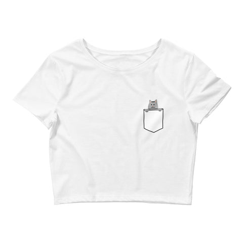 (Gray) Cat in Your Pocket Crop Top