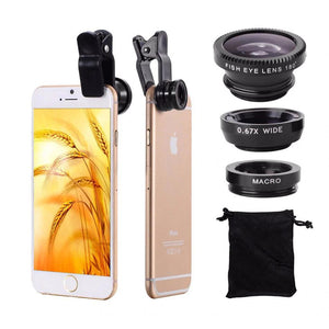 Mobile Phone Lenses - Universal 3-in-1 HD Fish Eye Smartphone Camera Lens