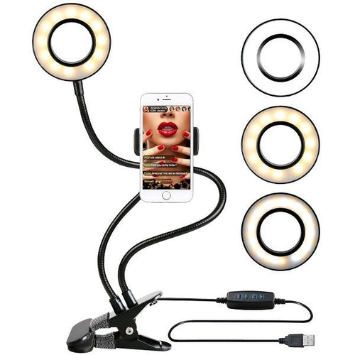 Photographic Lighting - Selfie Ring Light With Dual Flexible Arms And Clip-on Base