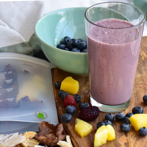 Ice cream and smoothie with Forester Reusable freezer storage bags