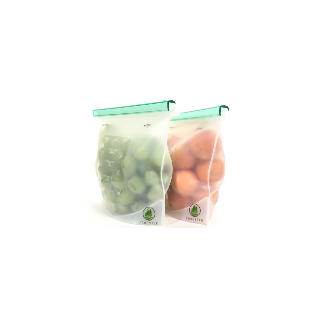 Forester Reusable Silicone Bags - 2 Medium Size - 30 oz (4 Cups)