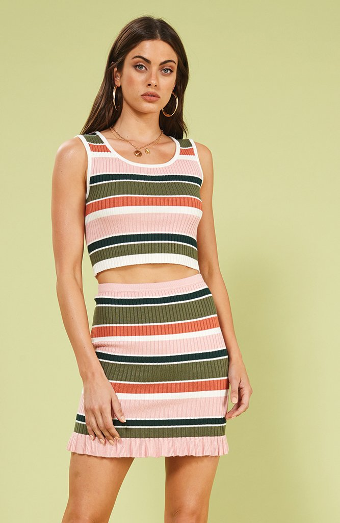 Mink Pink Open Air Stripe Mini Skirt