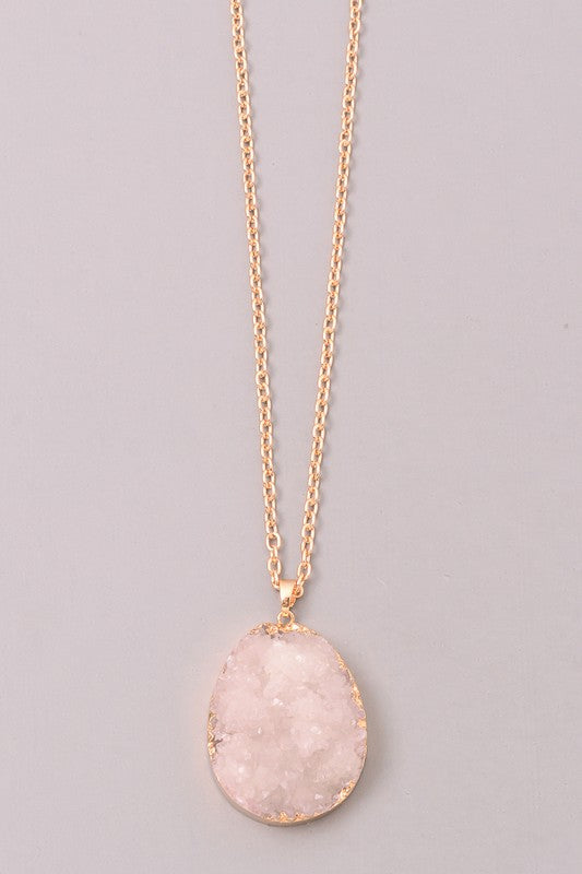 Crystal Druzy Stone Pendant Necklace