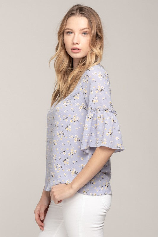 Willow Lavender Ruffle Sleeved Top