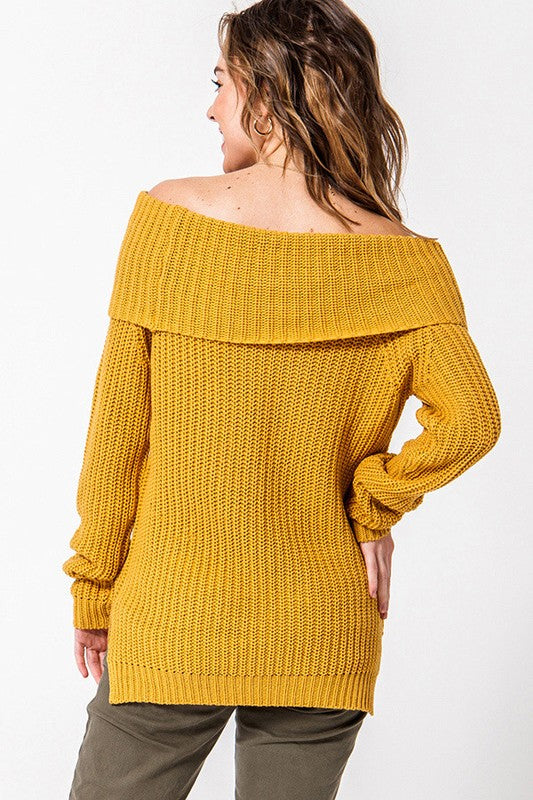 Off Shoulder Sweater Mustard
