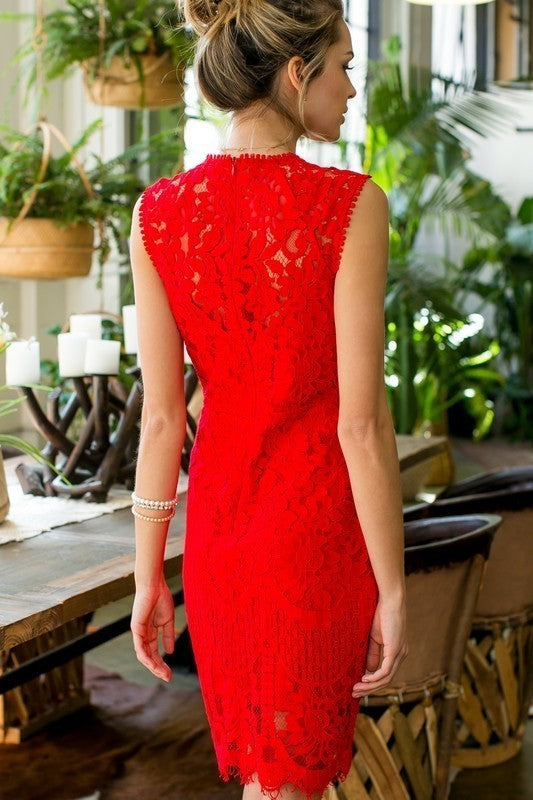 Jamie Sue Red Crochet Lace Dress