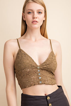 Army Green Button Down Front Lace Bralette