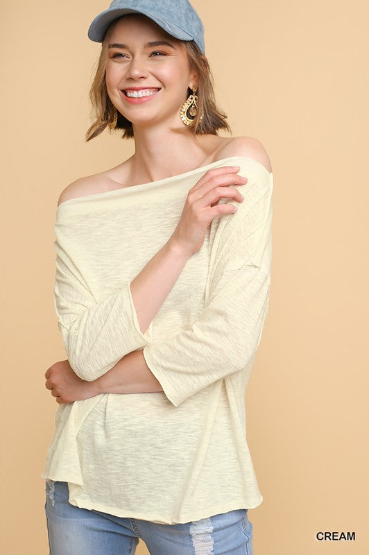 3/4 Sleeve Heathered Knit Off Shoulder Top