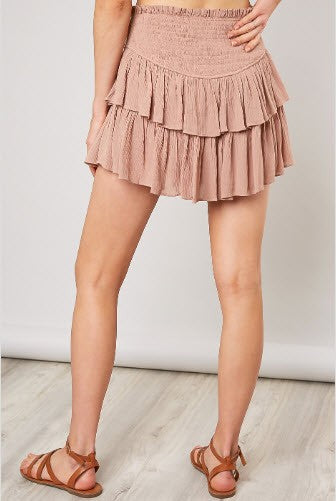 Holly Ruffle Mini Skort -Latte