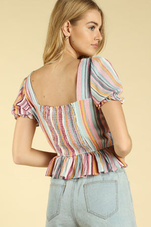 Chloe, Smock Peplum Square Neck Top