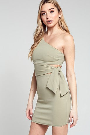 Sage Green One Shoulder Mini Dress