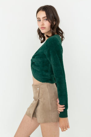 Green Twisted Front Fuzzy Knitted Sweater Crop Top