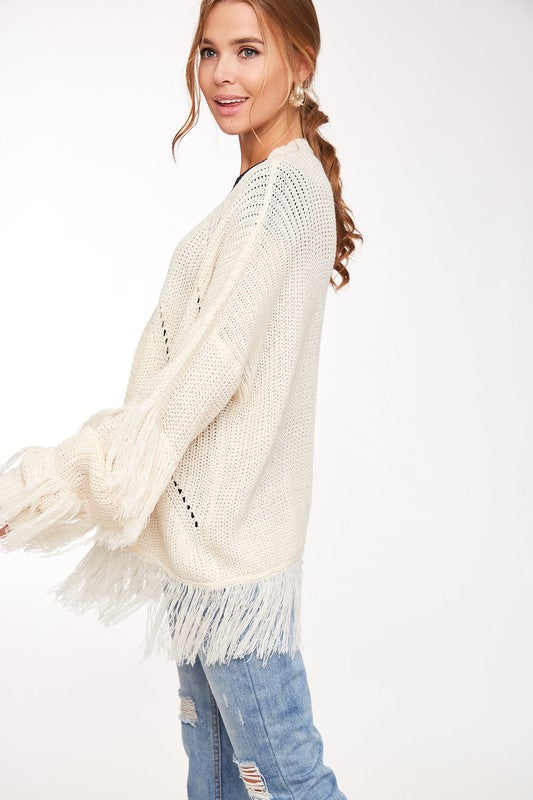 Open Knit Fringe Detail Cardigan Sweater