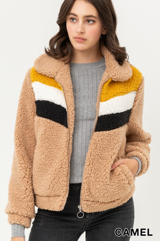 Camel Constrast Color Block Sherpa Jacket