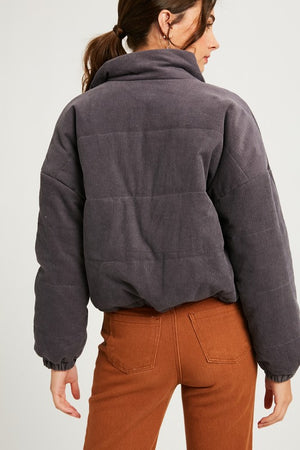 Charcoal Corduroy Padding Jacket